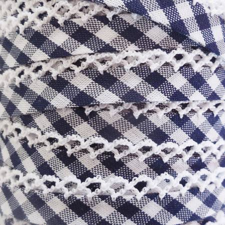 Double Fold Crochet Edge Bias Tape Gingham Navy Blue