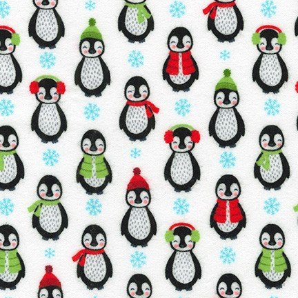 Bundled Buddies Penguins in white FLANNEL