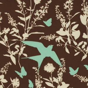 Bungalow Sateen Swallow Study in Chocolate