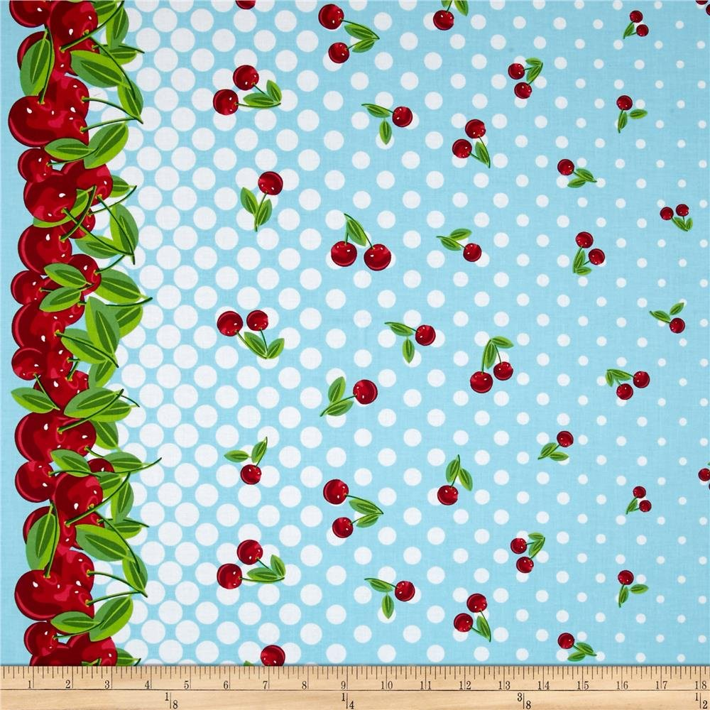 Cherries Jubilee in Blue Border print by Kanvas