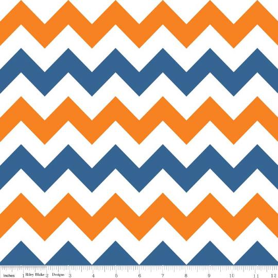 Medium Chevron-- Blue and Orange