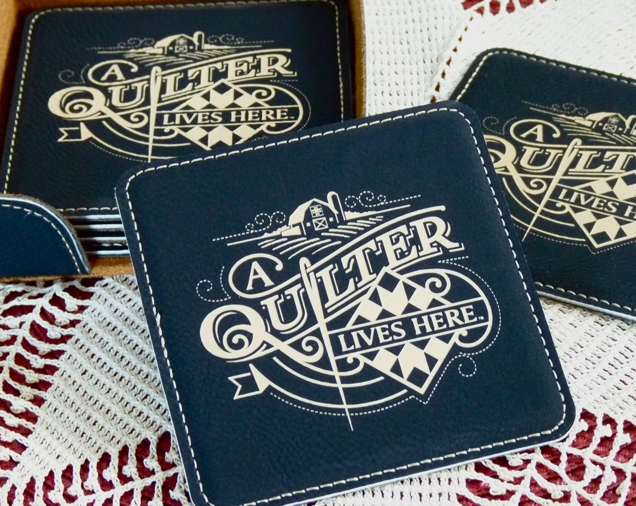 A Quilter Lives Here - Coasters