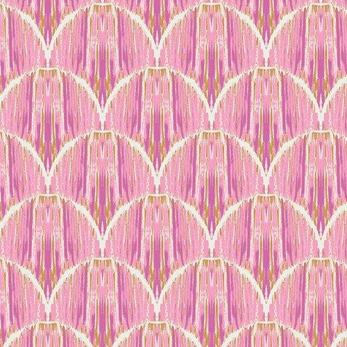 Indigo & Aster- Courbe Ikat Rose  by Bari J for Art Gallery Fabrics