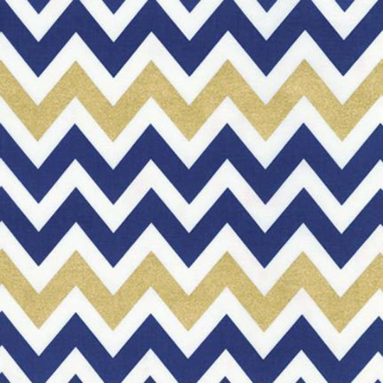 Chevron in Gold Metallic and Indigo