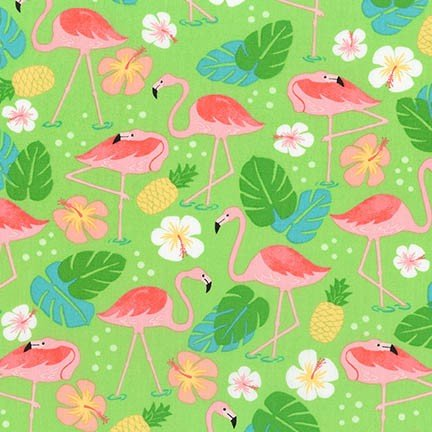 Flamingo Paradise in Green - by Robert Kaufman