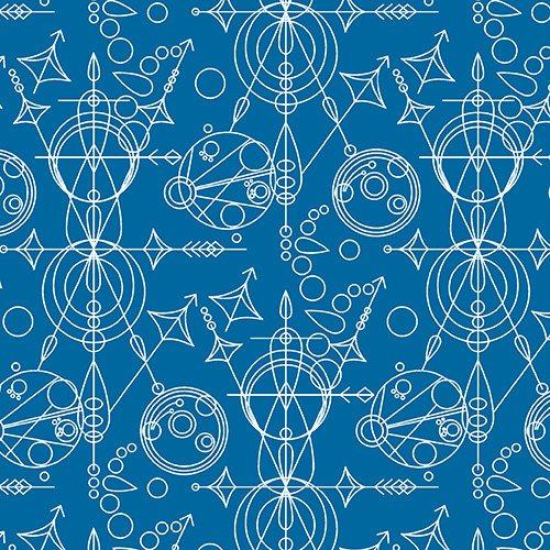 Sun print Geometric in Mercury Blue by Alison Glass