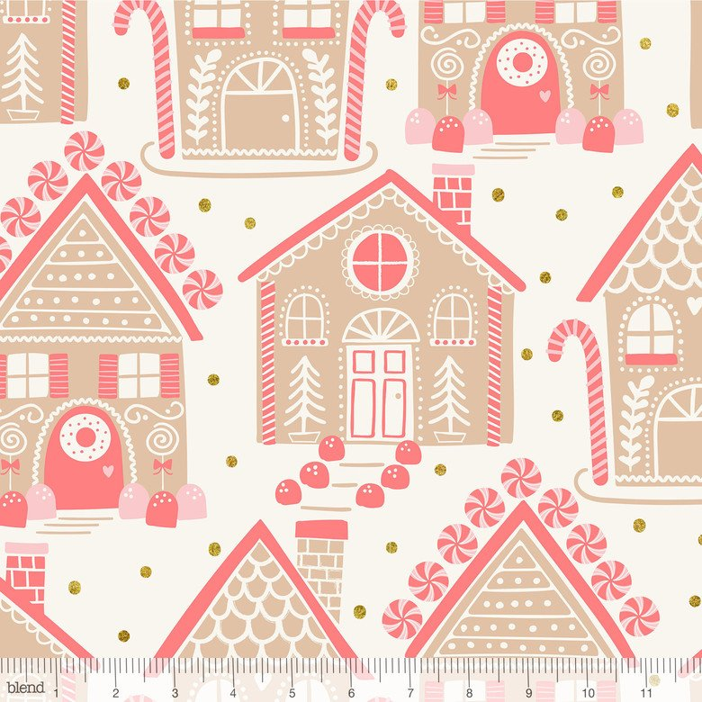 Kringle Sweet Shop Ginger Bread Lane in Ivory (Glitter)