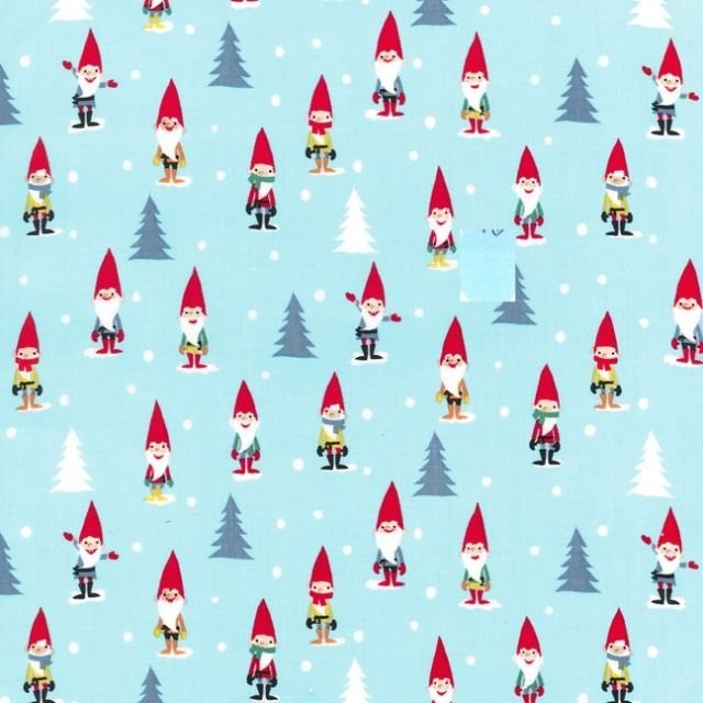 Many Mini Gnomes in Blue by Michael Miller Fabrics