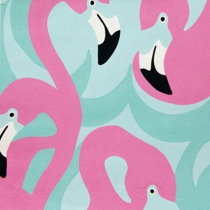 Boardwalk - Pink and Mint Flamingo by Alexander Henry