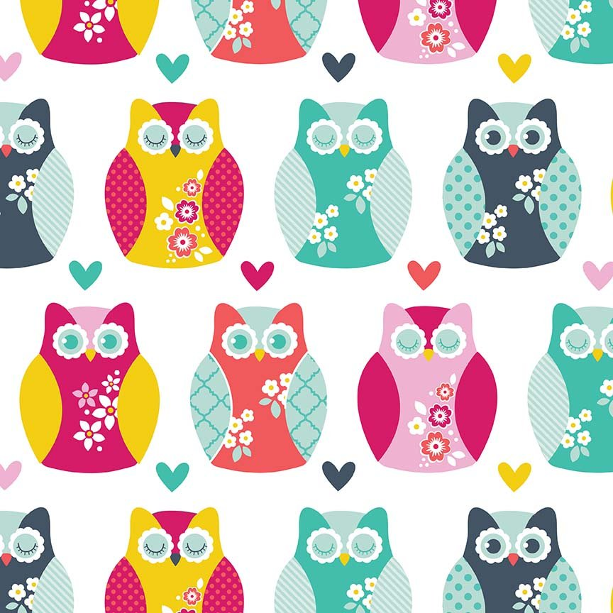 Owls and Hearts in Multi - FLANNEL