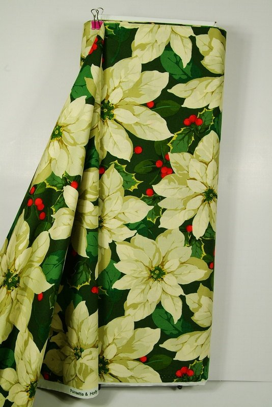 Poinsetta & Holly in Green