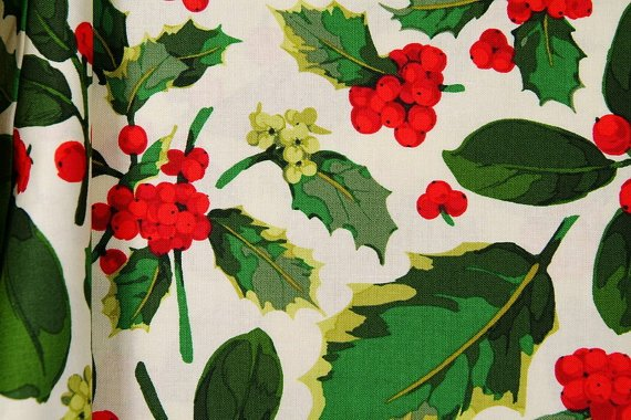 Poinsetta & Holly - Holly Mix in Green