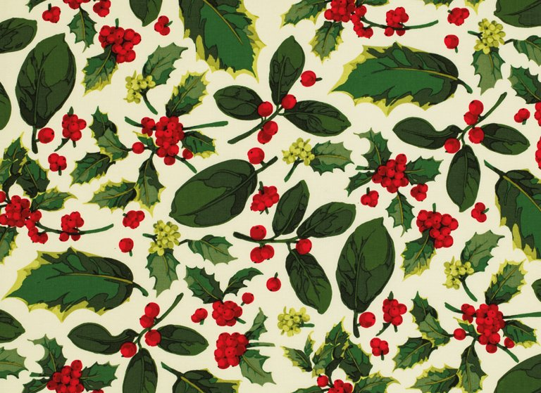Poinsetta & Holly - Holly Mix in Natural