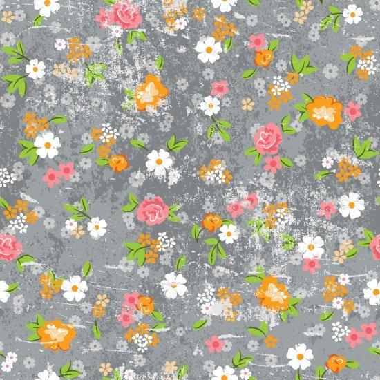 Roses & Arrows - Medium Grey Floral