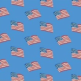 Storybook Americana Flags on Blue by Whistler Studios/Windham