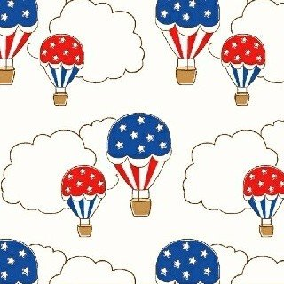Storybook Americana Hot Air Balloons on White