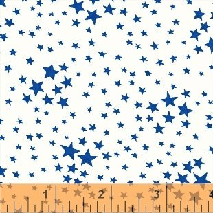 Storybook Americana Blue Stars on White by Whistler Studio/Windham