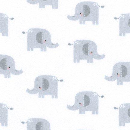 Welcome Baby - Grey Elephants Flannel