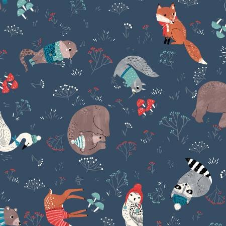 Dreaming of Snow Forest Friends in navy