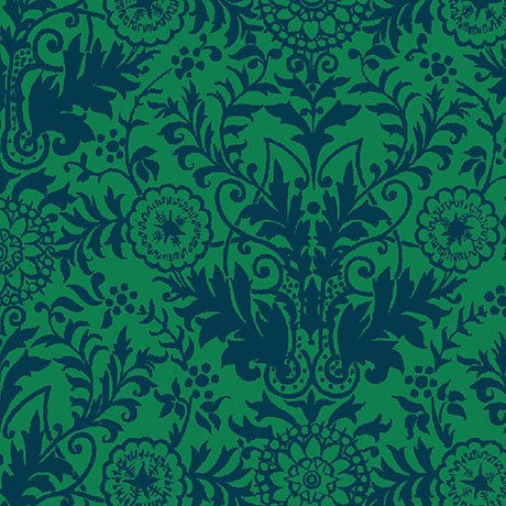 Zola Damask in Green/Navy