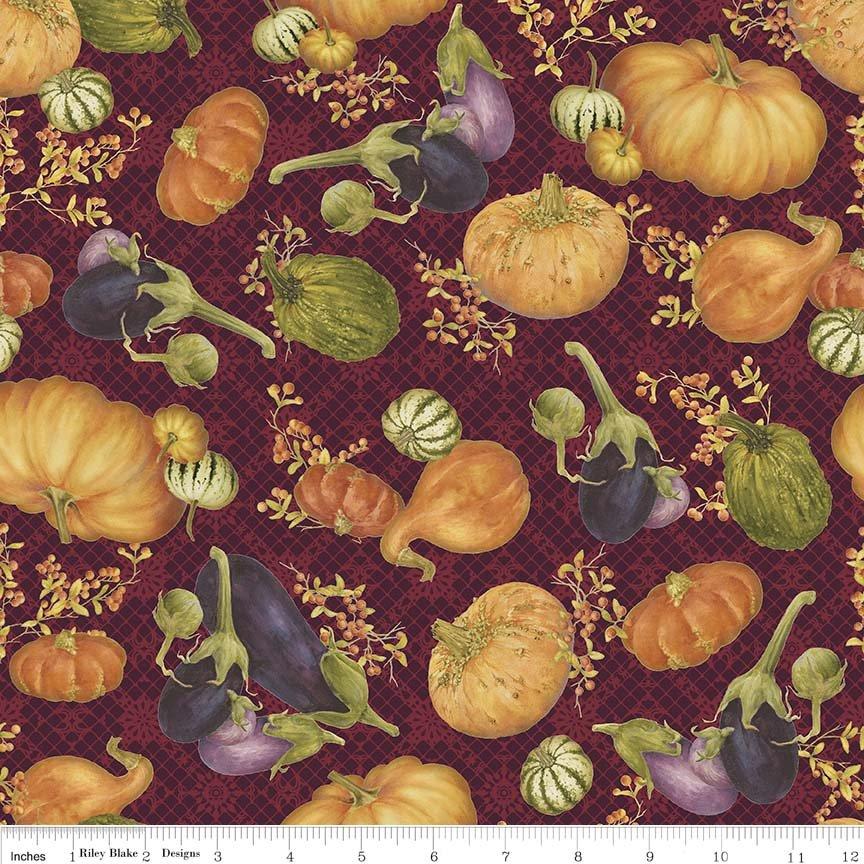 Autumn Hues - Maroon Pumpkins & Gourds (#7084)