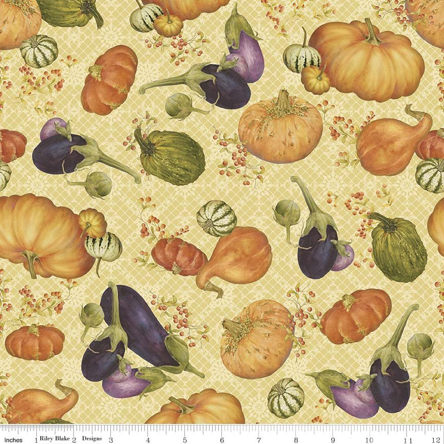 Autumn Hues - Cream Pumpkins & Gourds (#7085)