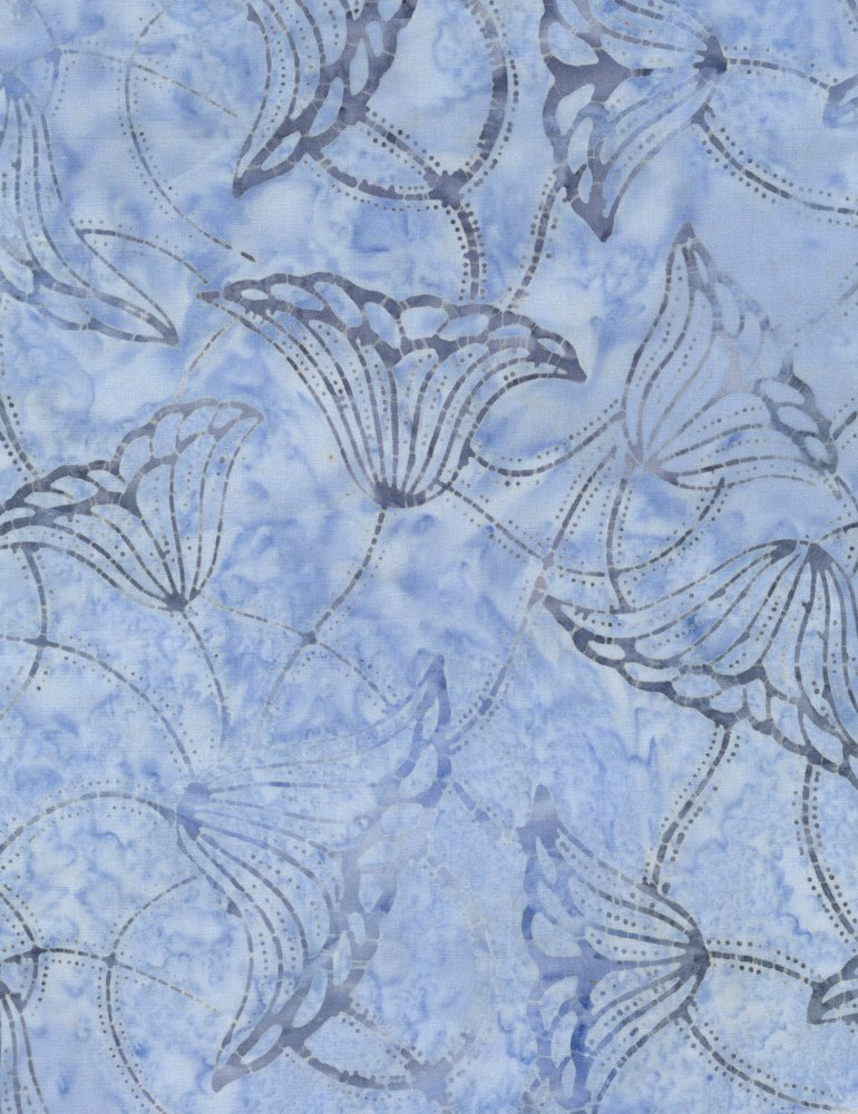Tonga Surf Batik - Trumpet Flowers - Wave (#7178)