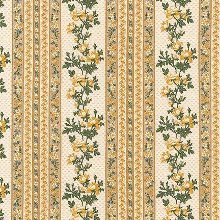Belcourt - Floral Stripe - Buttercup (#7089)