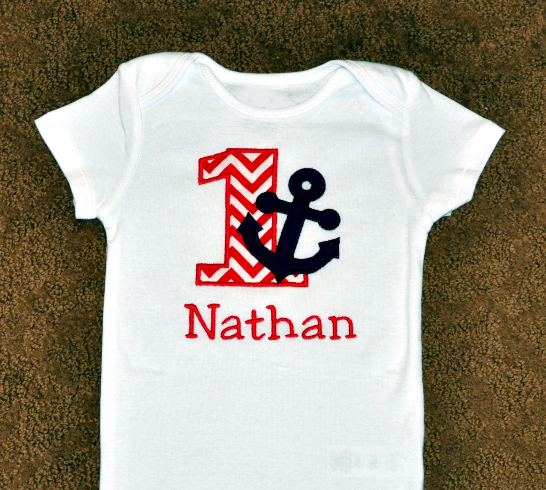 Monogrammed First Birthday Navy And Red Nautical Anchor Appliqued Body Suit Or T Shirt