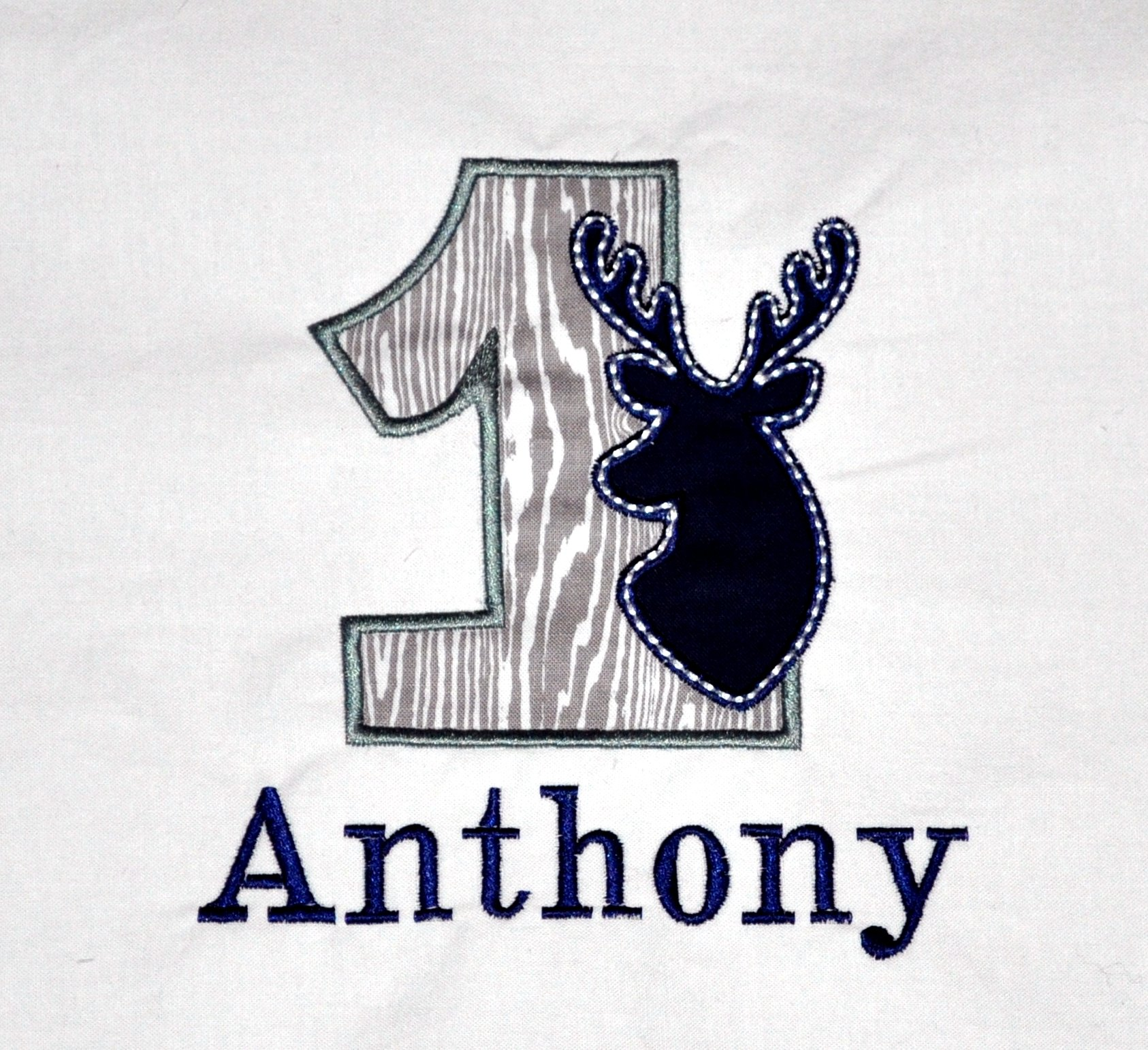 Personalized First Birthday Buck Deer Appliqued Body Suit Or T Shirt