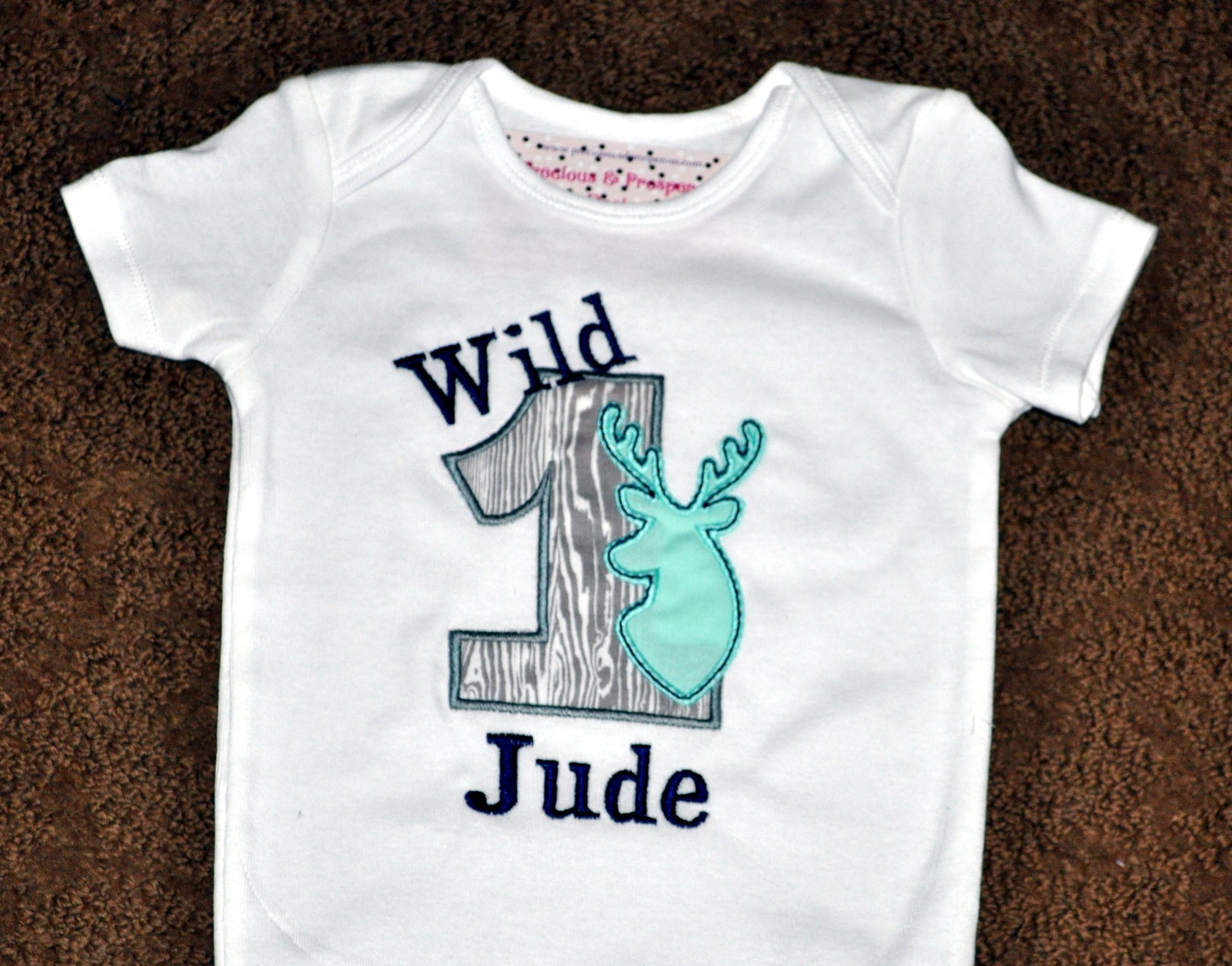 fb60ae07fcd66 Personalized First Birthday Wild Buck Deer Appliqued Body Suit or T-shirt