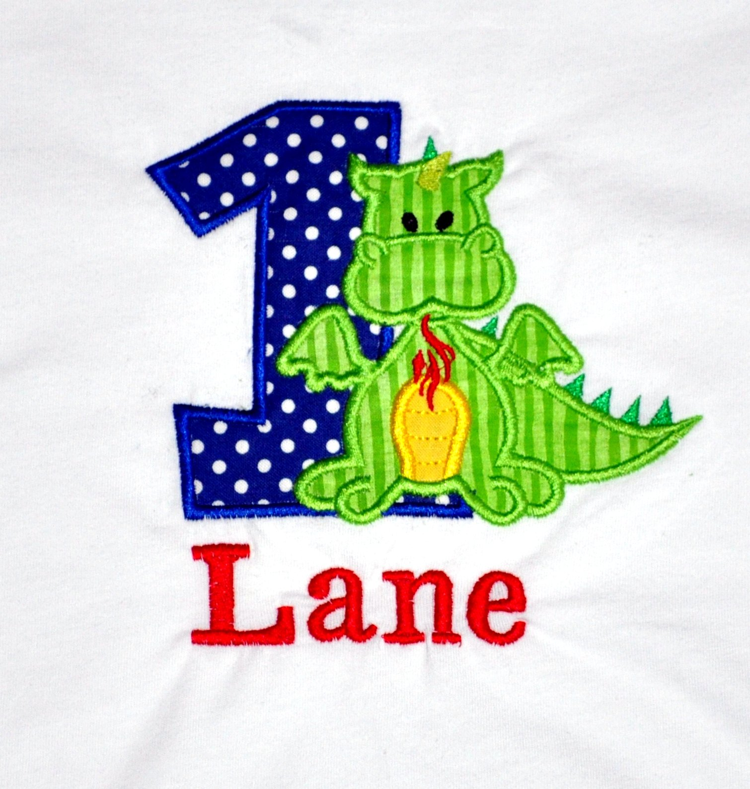 Monogrammed First Birthday Dragon Appliqued Body Suit Or T Shirt