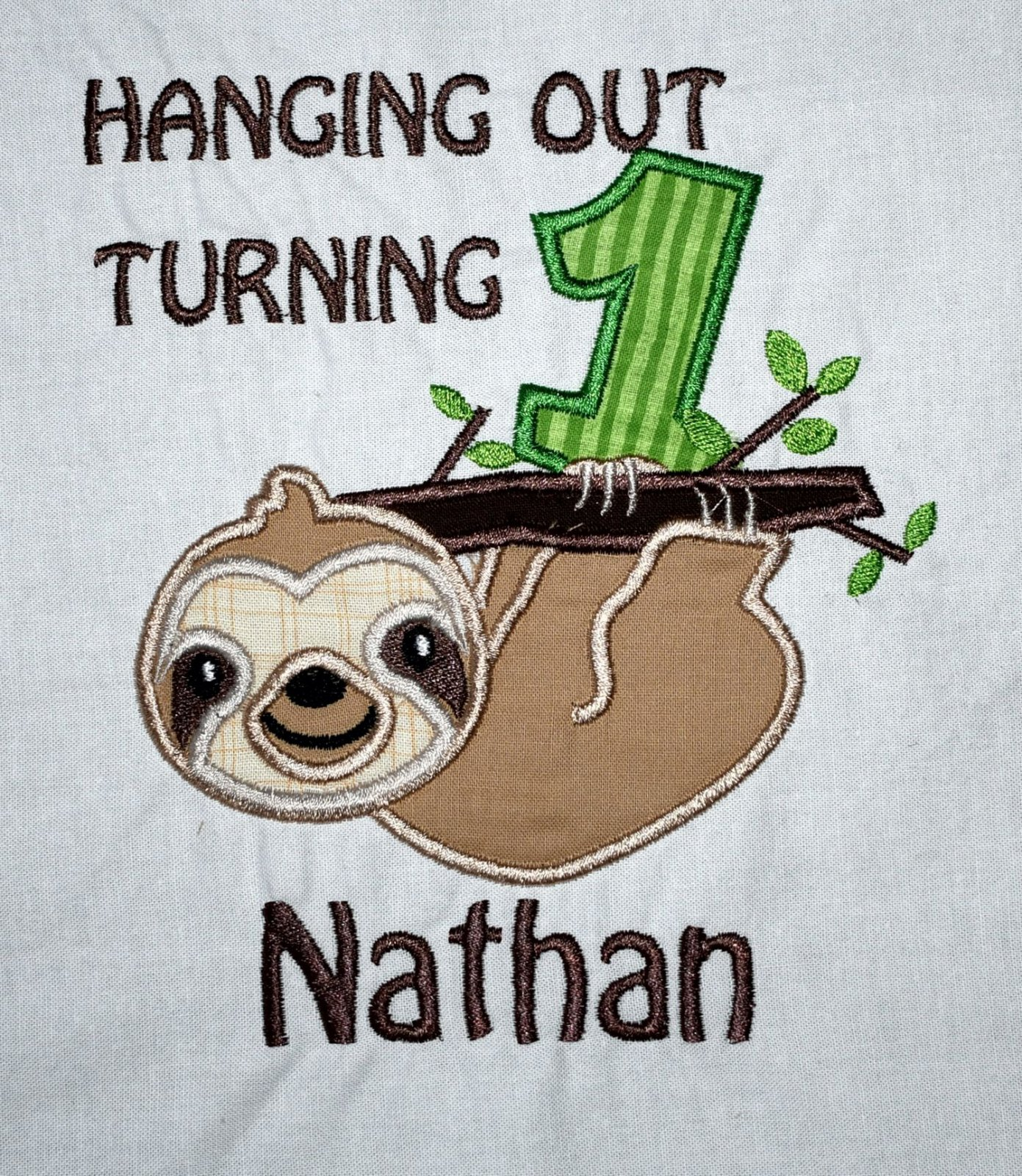Hanging Sloth Birthday Boy Shirt Or Body Suit Personalized First Party Outfit Turning ONE Cake Smash Ideas Theme