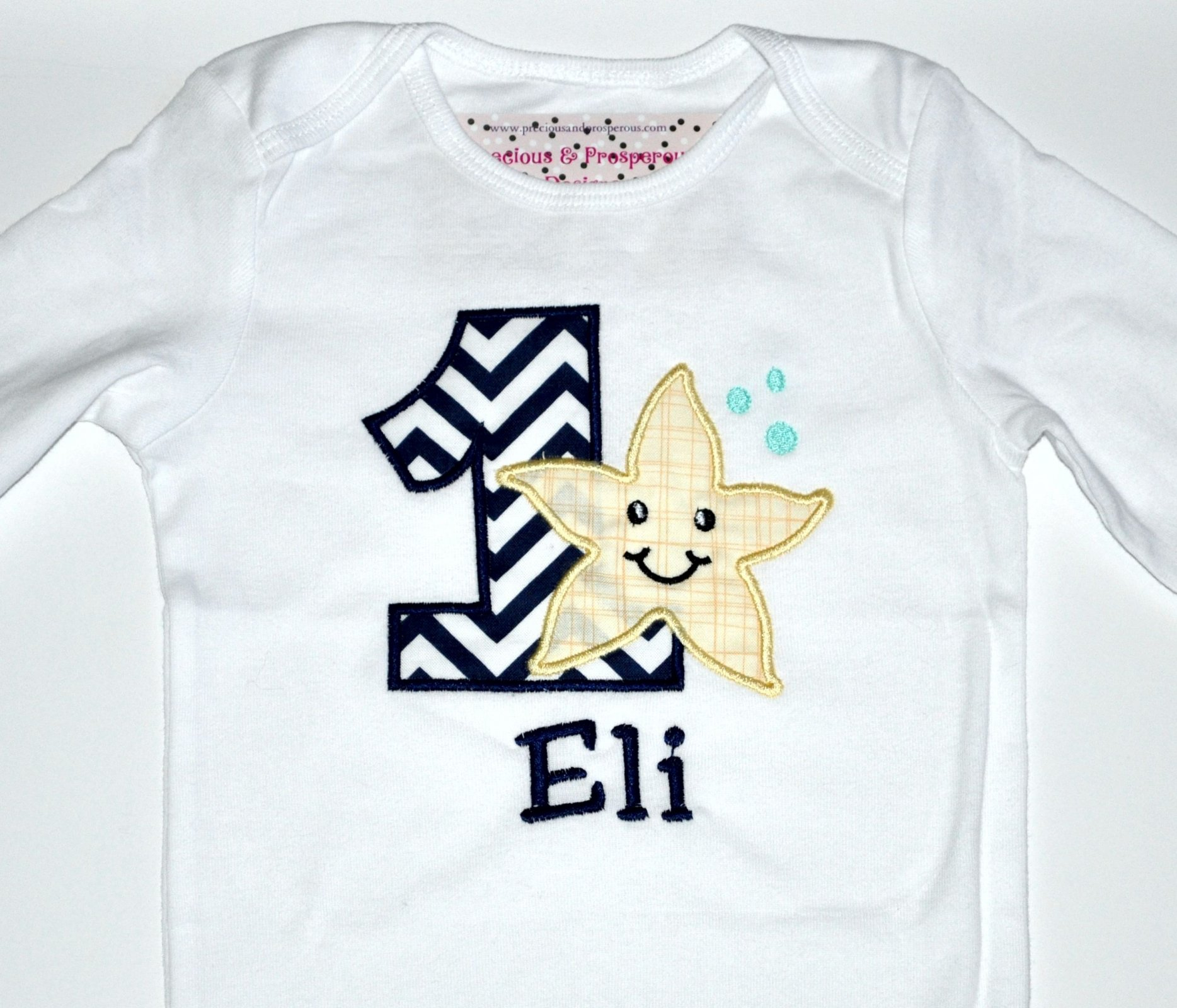 Monogrammed First Birthday Starfish Beach Party Appliqued Body Suit Or T Shirt