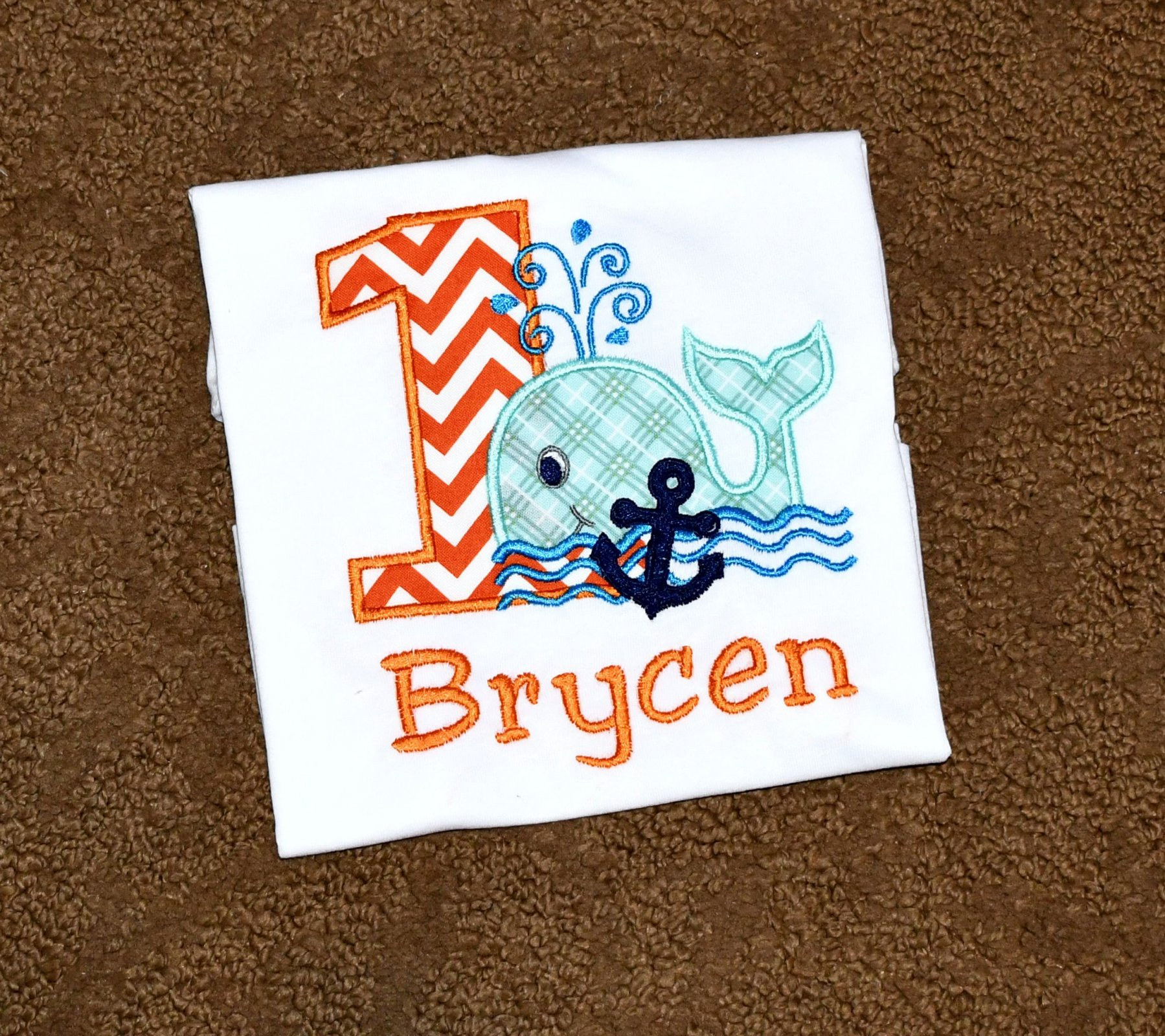 f549315f Monogrammed First Birthday Orange And Aqua Whale Appliqued Body Suit Or T  Shirt