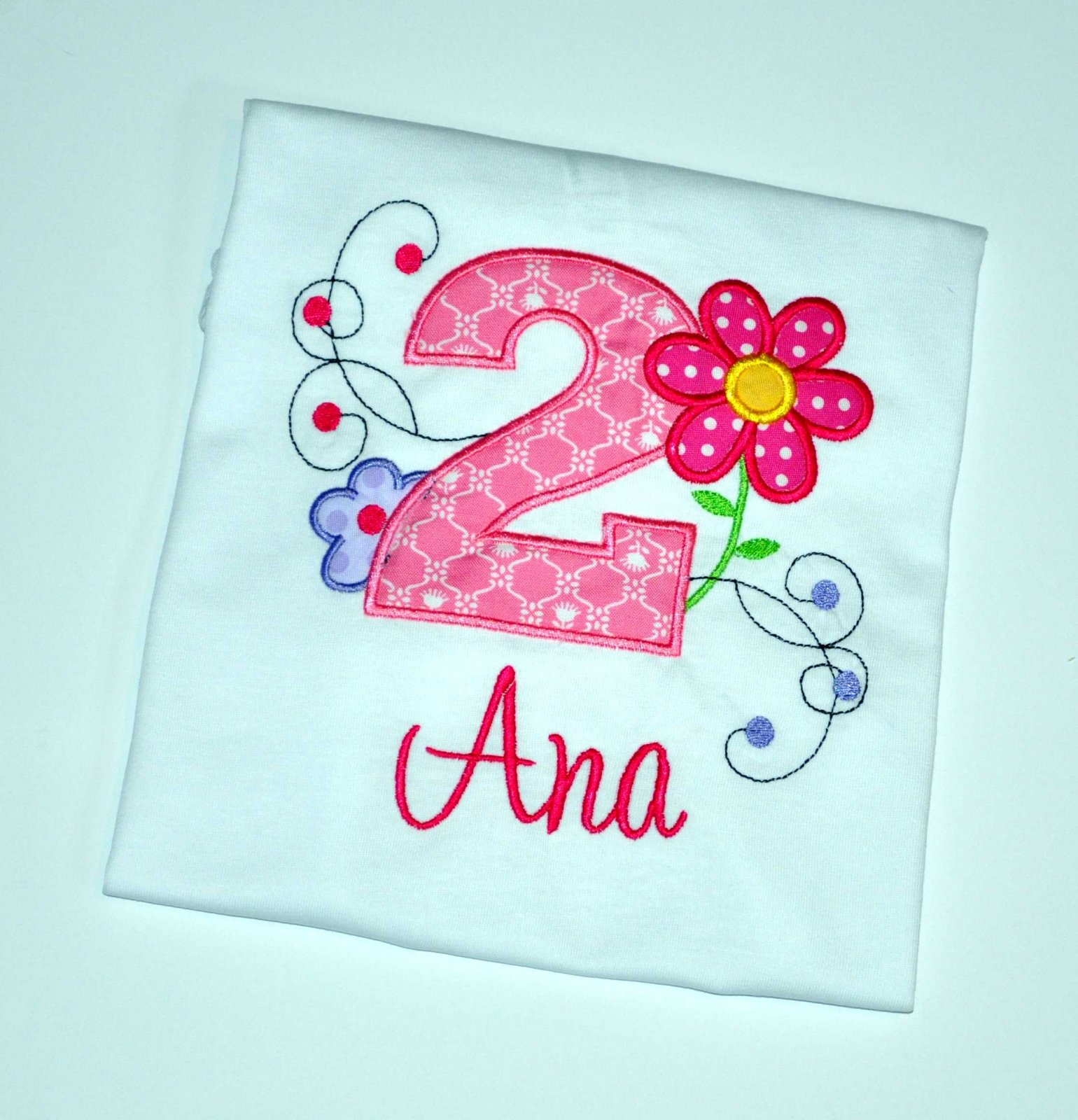 Monogrammed Personalized 2nd Birthday Flower Garden Appliqued T Shirt