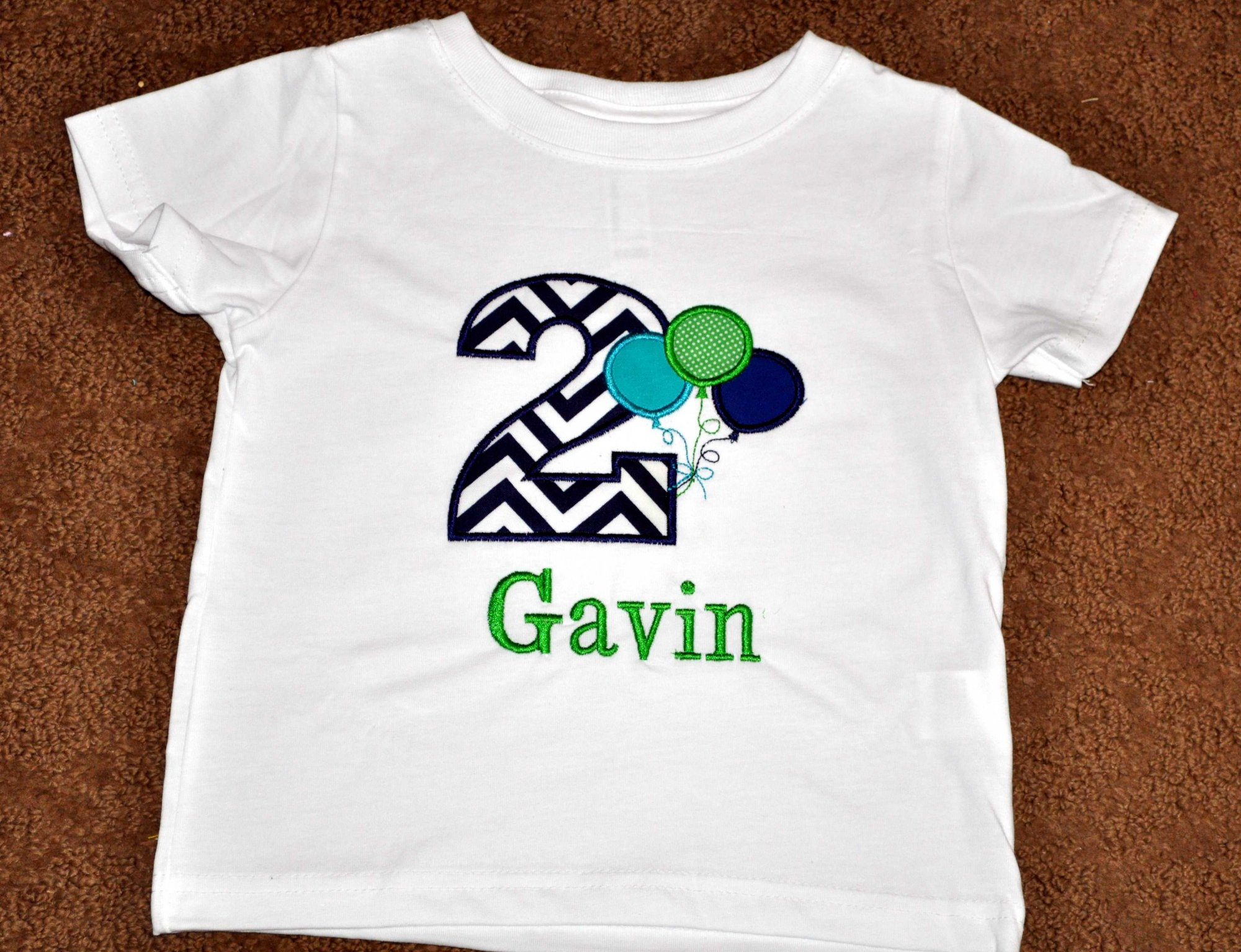 Monogrammed Personalized 2nd Birthday Balloons Appliqued T Shirt