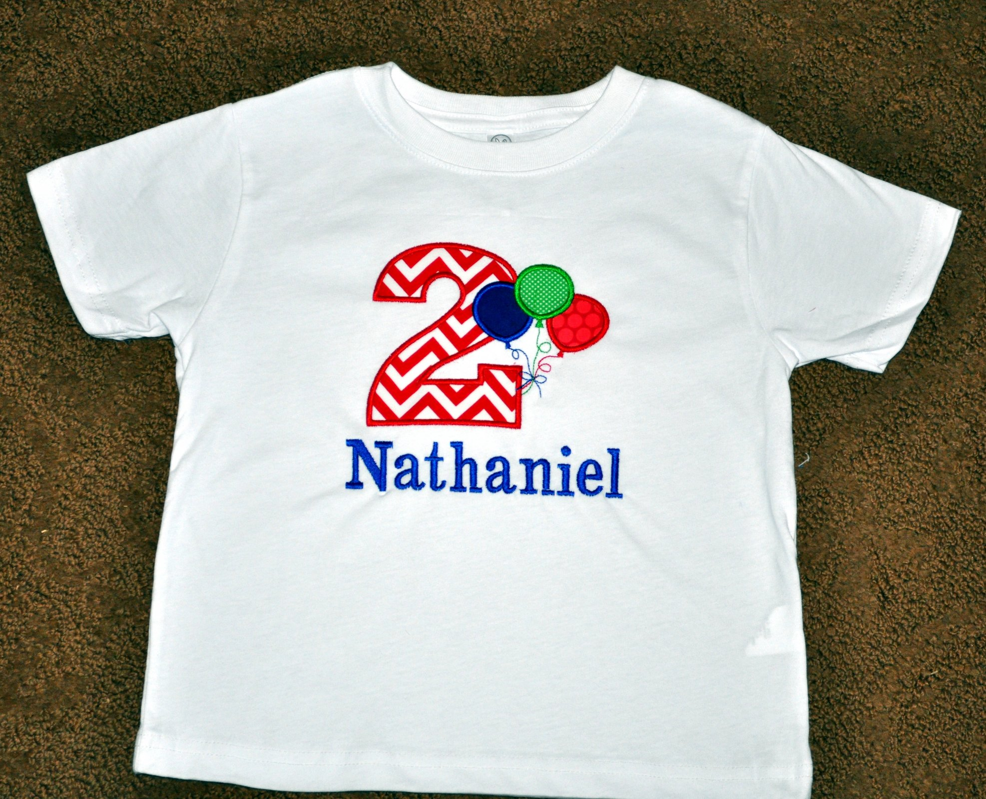 bece75d51 Monogrammed/Personalized 2nd Birthday Primary Balloons Appliqued T-shirt