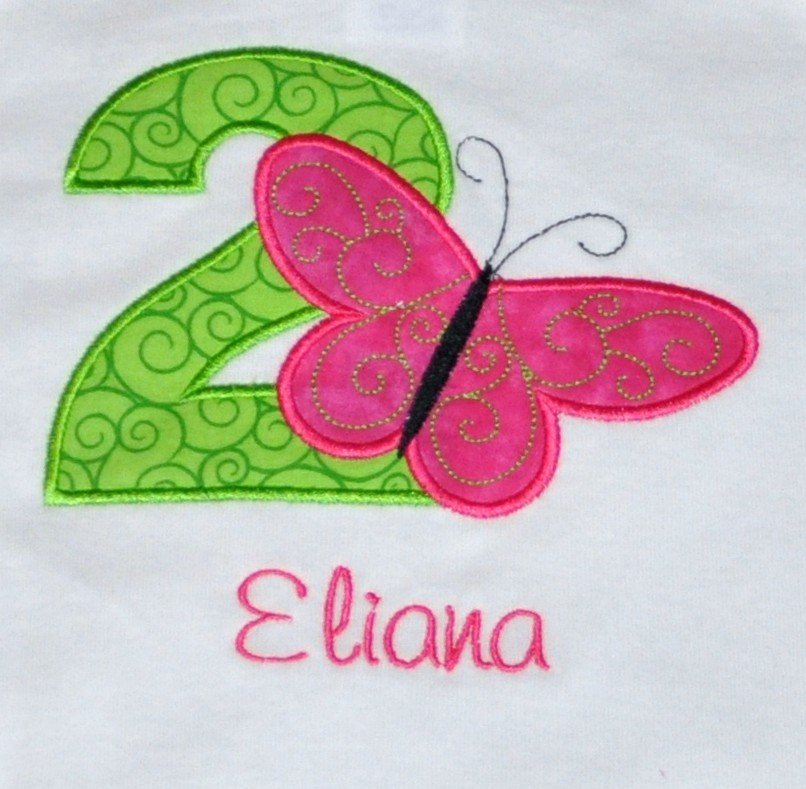 Monogrammed Personalized 2nd Birthday Butterfly Appliqued T Shirt