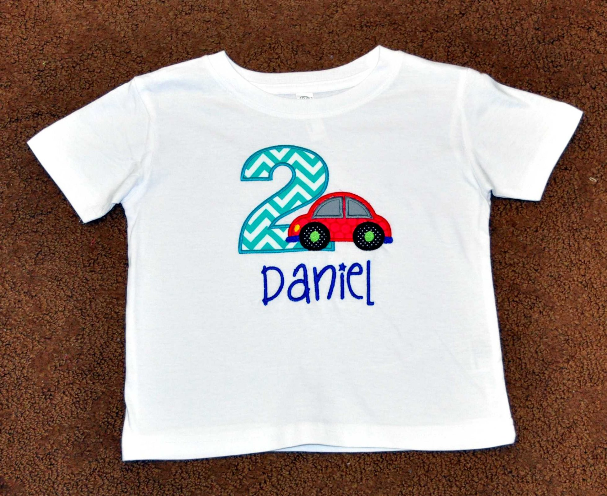Monogrammed Personalized 2nd Birthday Turquoise Red Car Appliqued T Shirt