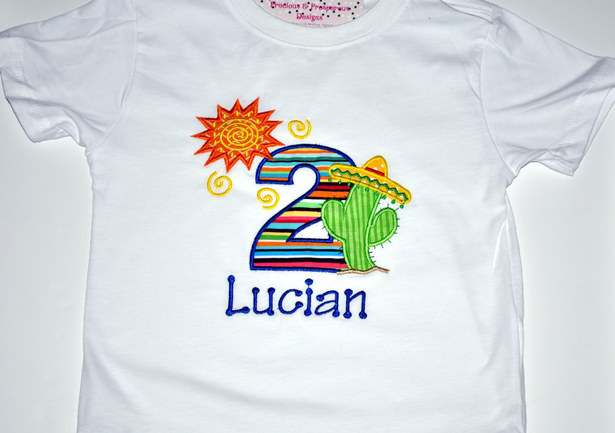 Monogrammed Personalized 2nd Birthday Fiesta Sun Cactus Party Appliqued T Shirt