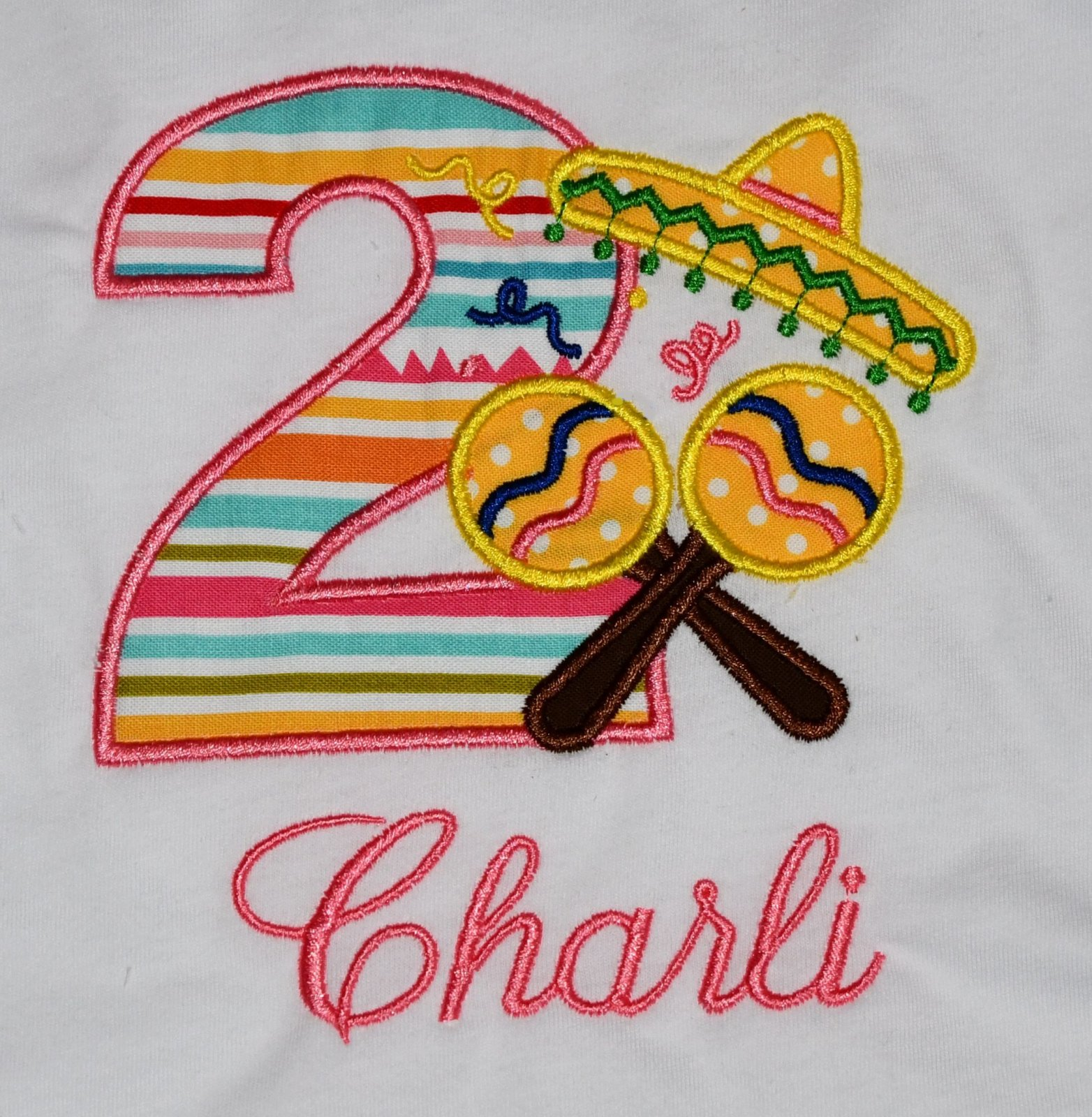 Monogrammed Personalized 2nd Birthday Girl Fiesta Party Appliqued T Shirt