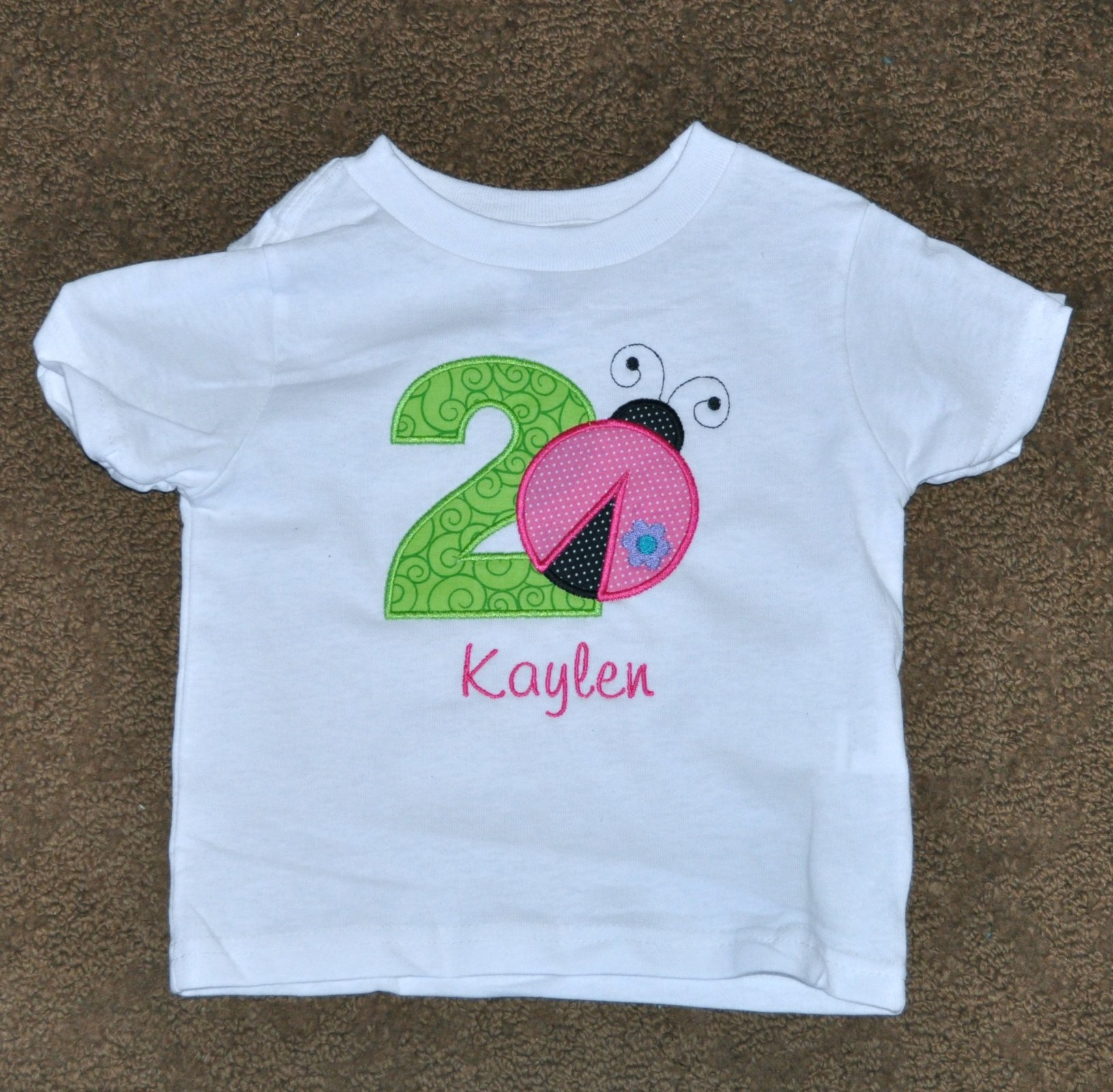 Monogrammed Personalized 2nd Birthday Little Ladybug Appliqued T Shirt