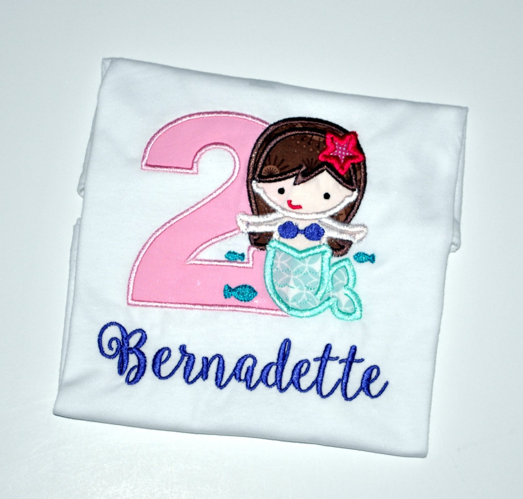 Monogrammed Personalized 2nd Birthday Mermaid Appliqued T Shirt