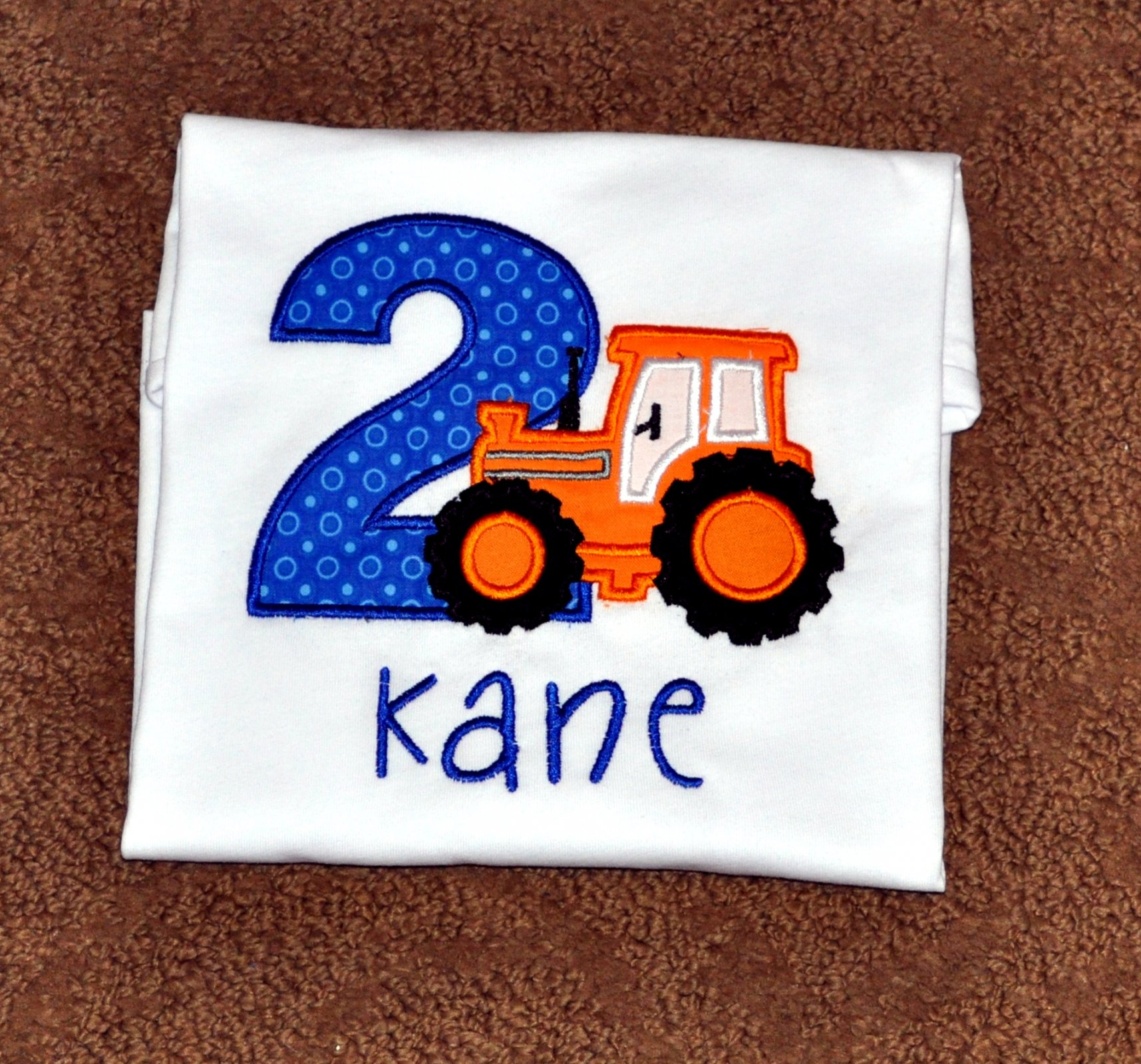 Monogrammed Personalized 2nd Birthday Tractor Appliqued T Shirt
