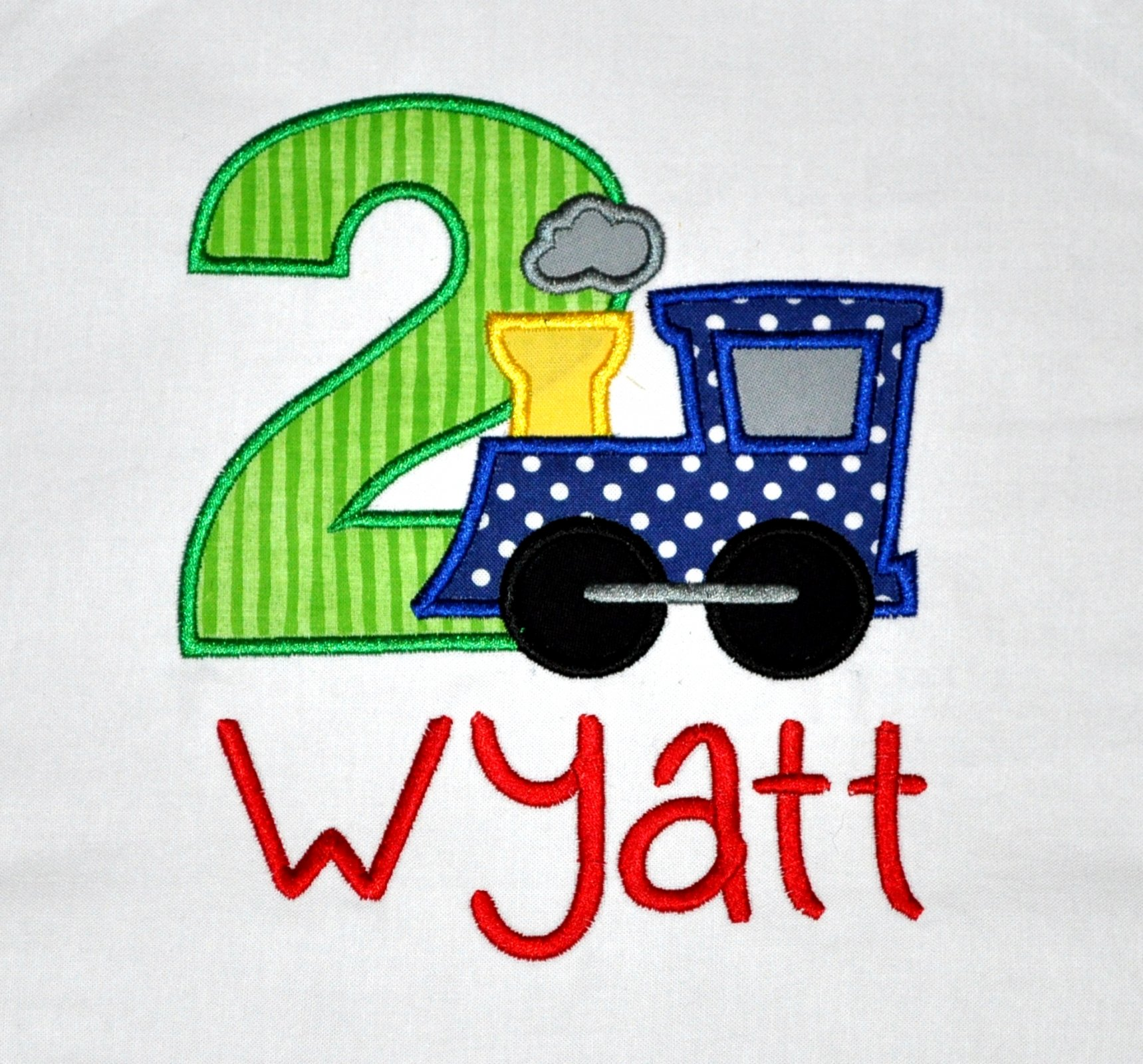 Monogrammed Personalized 2nd Birthday Train Appliqued T Shirt