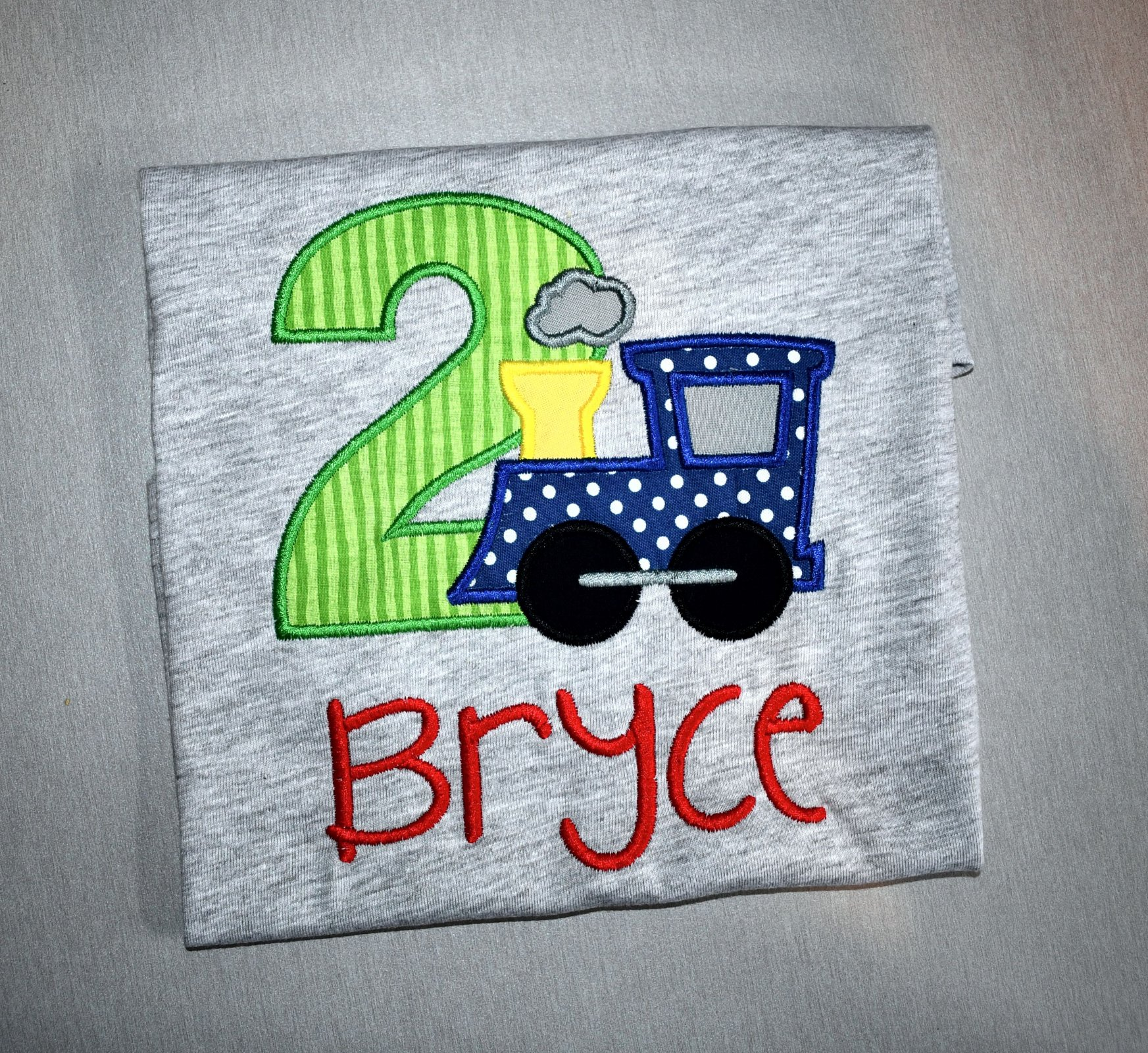 Monogrammed Personalized 2nd Birthday Train Appliqued Grey T Shirt