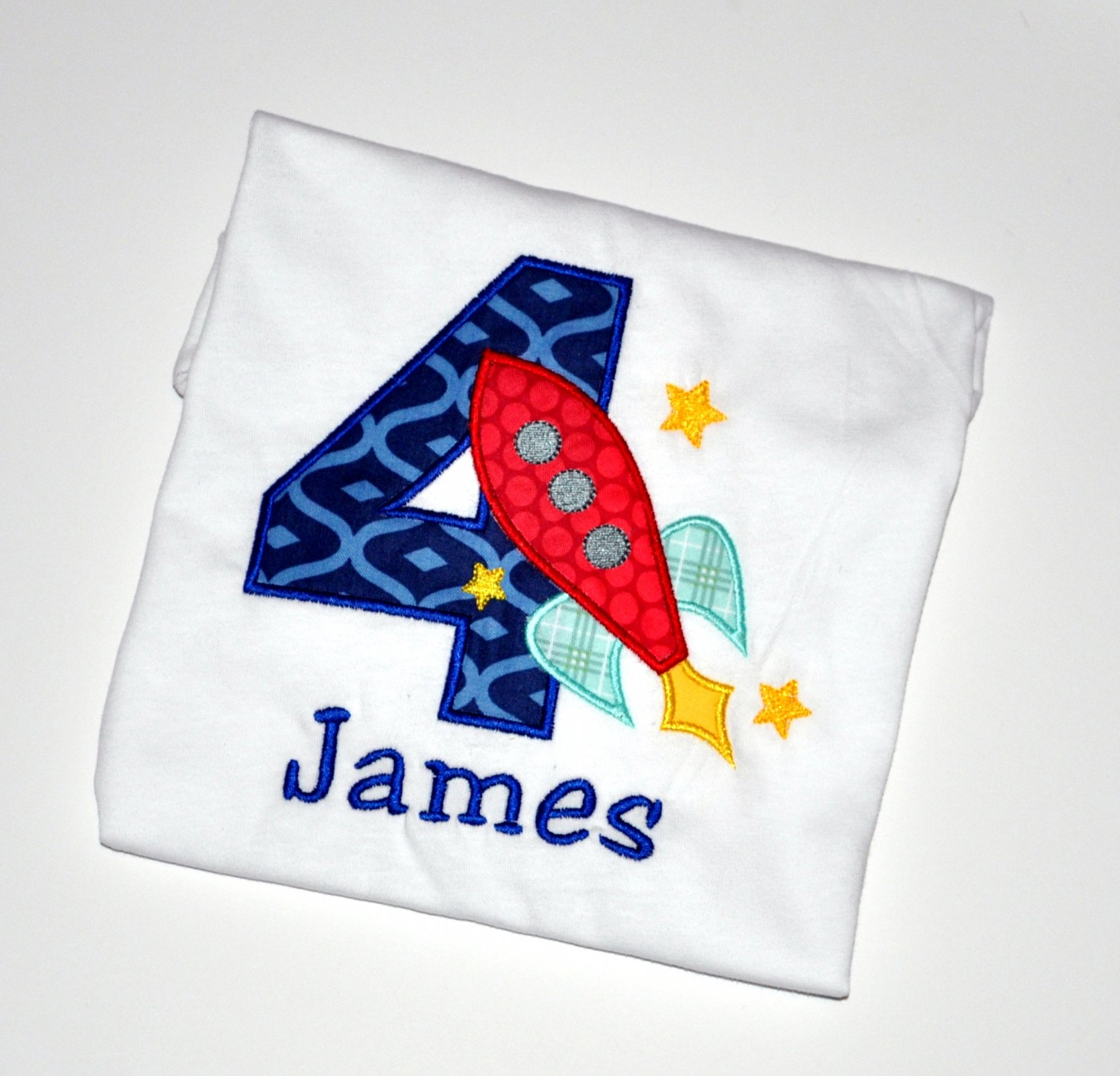 Monogrammed Personalized 4th Birthday Rocket Ship Outer Space Appliqued T Shirt