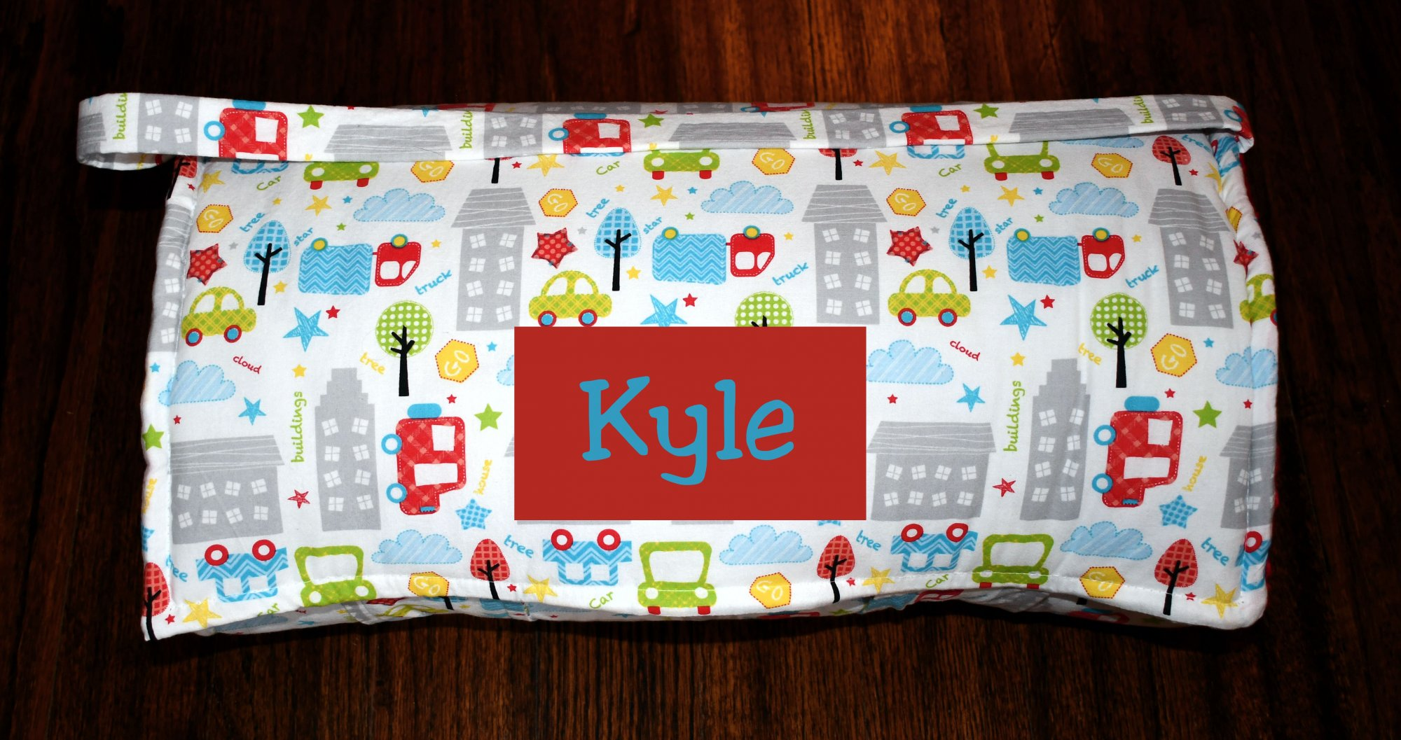 City Block Cars & Trucks Nap Mat with a Red Minky Dot Blanket, Personalized Preschool Kinder Toddler Daycare Sleeping Mat