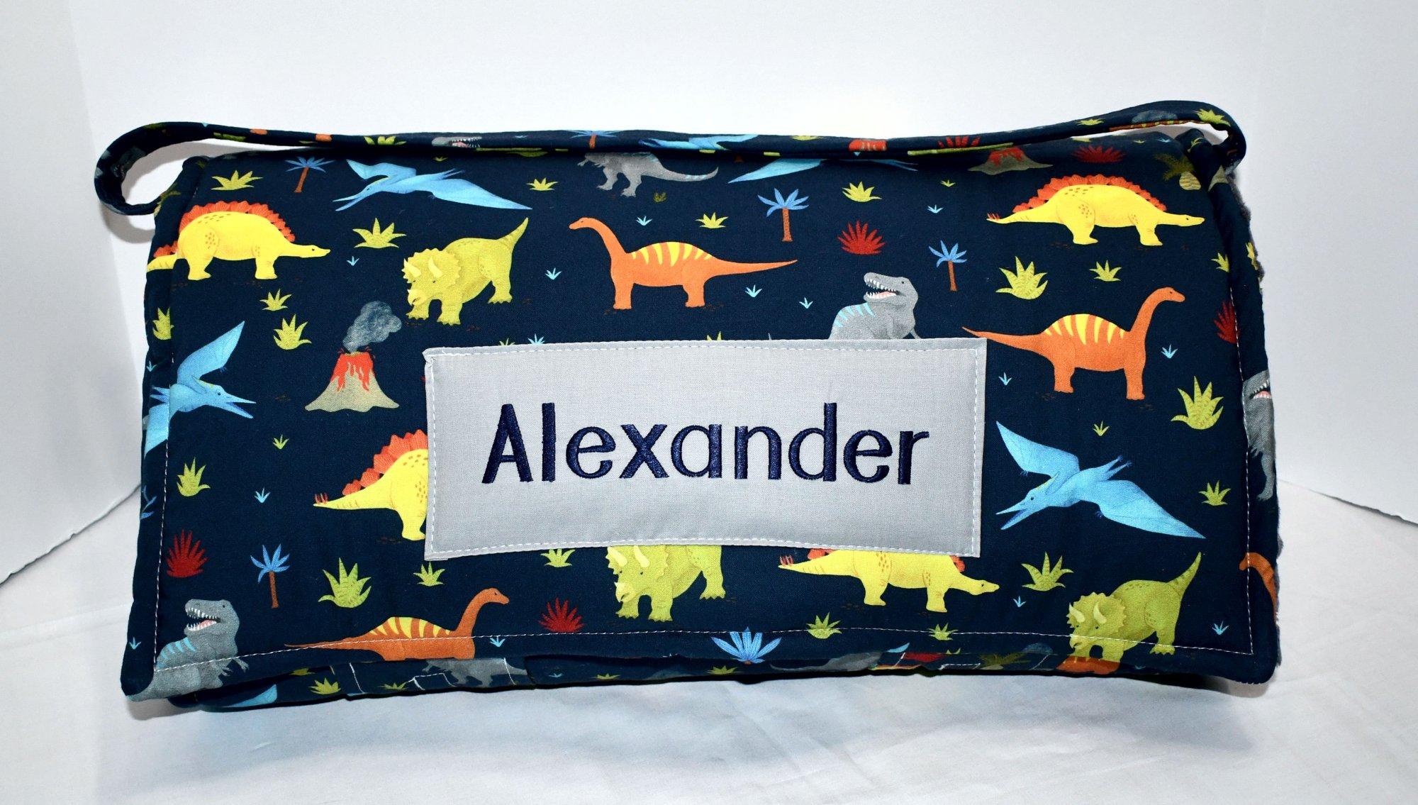 Dinosaur Navy Prehistoric Jurassic Kids Nap Mat with Grey Blanket, Personalized Preschool Kinder Toddler Daycare Sleeping Mat